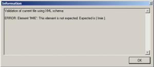 okno błędu walidacji schematem danych XSD