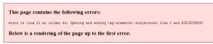 widok błędu walidacji xml w przeglądarce