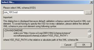 okno wyboru scematu danych xsd w celu walidacji xml