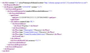 odpowiedź serwera na żądanie geokodowania adresu GUGiK