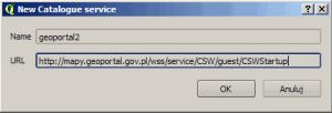 Pole wyboru nowej usługi CSW w Qgis