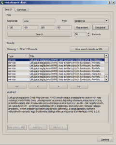 Okno wyboru usługi CSW - dane goeportalu