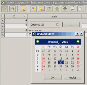 Okno kalendarza dla pola data w QGIS