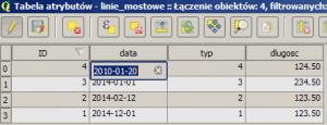 Widok edycji pola daty przed przypisaniem typu w QGIS