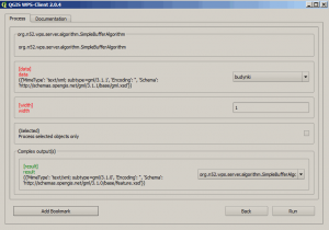 Wybór parametrów buforowania budynkó w w usłudze WPS w QGIS