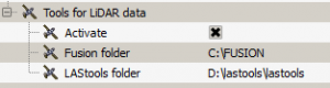 Okno konfiguracji tools for lidar dataw QGIS