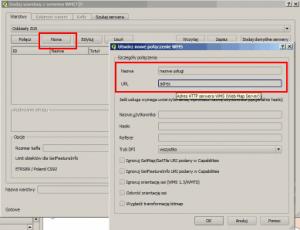 Okno definicji nowej usługi WMS w QGIS