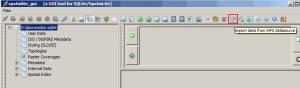 Obraz importu danych w WFS w programie spatialite