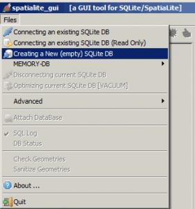 Tworzenie nowej bazy spatialite w programie spatialite GUI