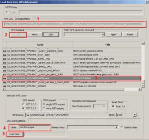 Okno wyboru usługi WFS w programie spatialite GUI