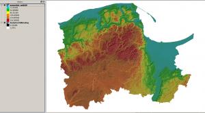Widok modelu terenu z nałożonym hillshade dla województwa pomorskiego