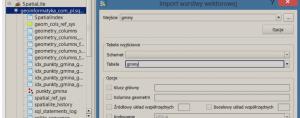 Obraz importu pliku shp w programie spatialite gui